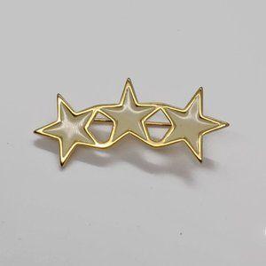 Vintage Cream Enamel Gold Tone 3 Stars Brooch PIn
